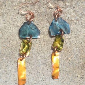 Blue Yellow Green Chandelier Earrings Pure Copper